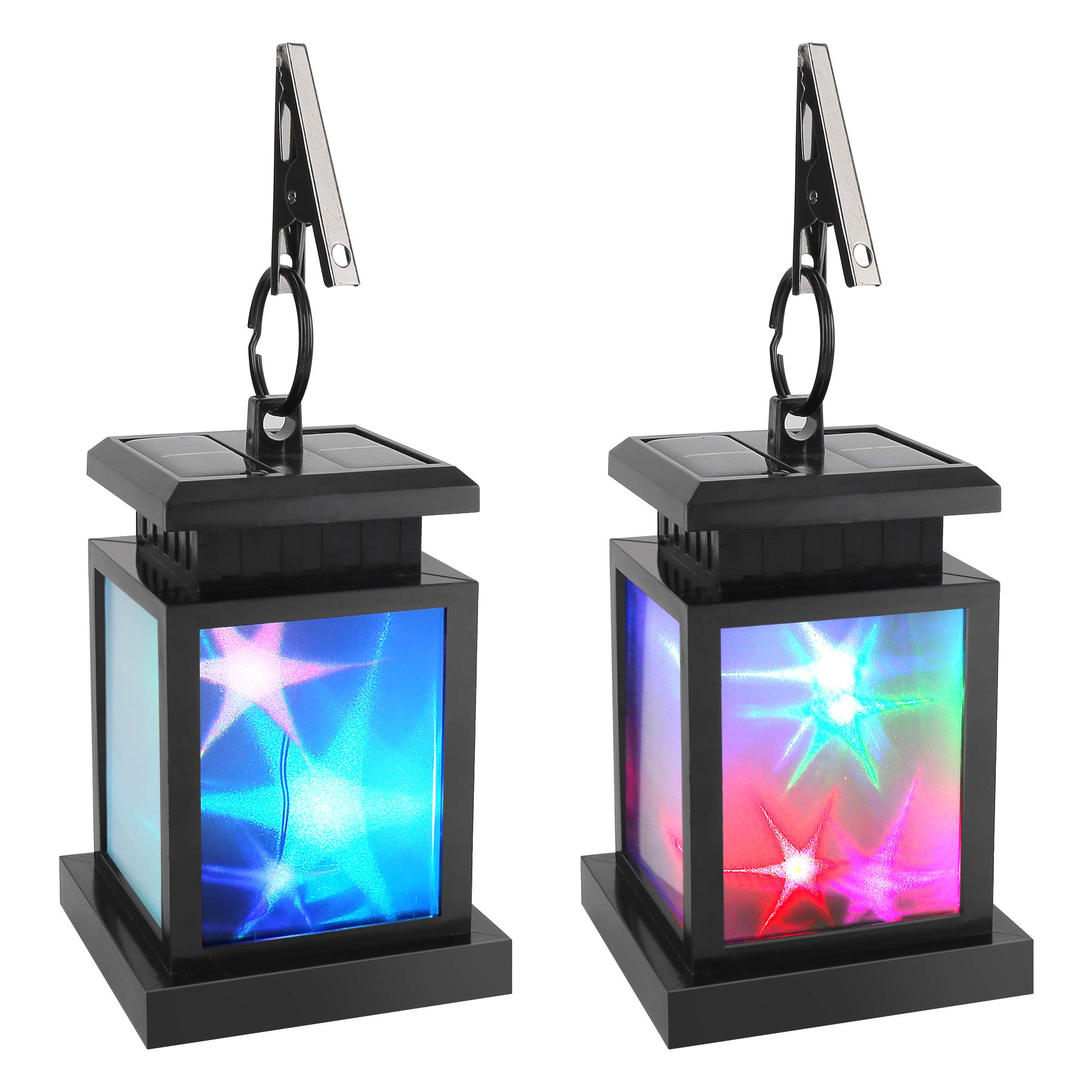 Solar Lantern Hanging, Derlights Color Changing Solar Star Flicker Lantern with Clamp, Auto On/Off solar garden lights for Outdoor Patio Lawn Yard Pavilion Beach Umbrella Tree Decoration (2 Pack)