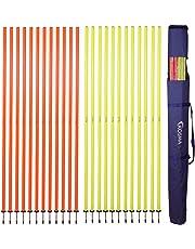 Kosma Confezione da 24 Pali da Slalom da 1,5 m x 25 mm con picchetto Staccabile in Borsa per Il Trasporto, 12 Gialle e 12 Arancioni