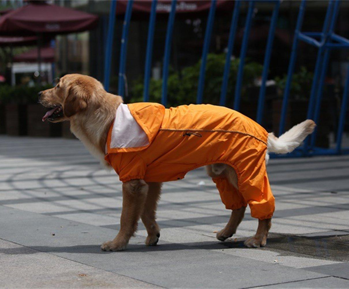 orange XXL orange XXL Pet Dog Waterproof Hooded Raincoat Medium to Large Dog S-XXL(orange)
