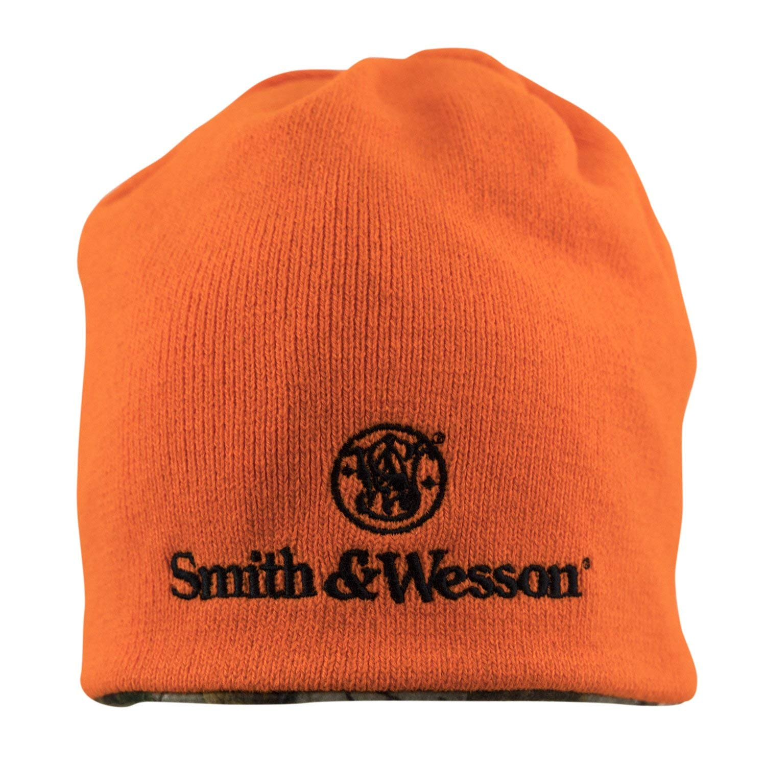 Smith   Wesson S W Mens Reversible Blaze Orange Camo Beanie with  Embroidered Stacked Logo - Officially Licensed at Amazon Men s Clothing  store  c685ff55d6e