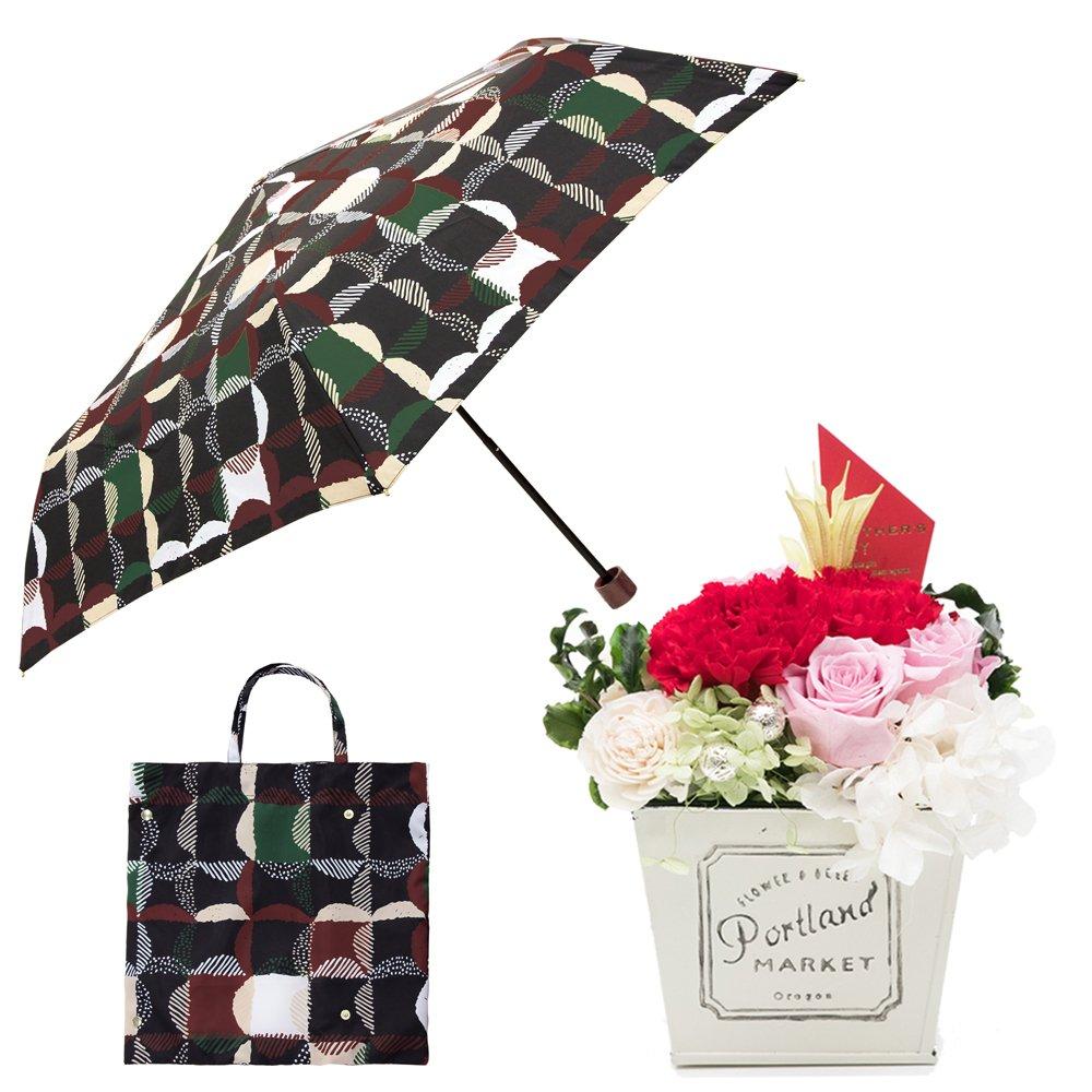 母の日ギフト プリザーブドフラワーと折り畳み傘のギフトセット B07CK32WWM お花:赤/Mサイズ ウロコグリッド/クロ ウロコグリッド/クロ お花:赤/Mサイズ