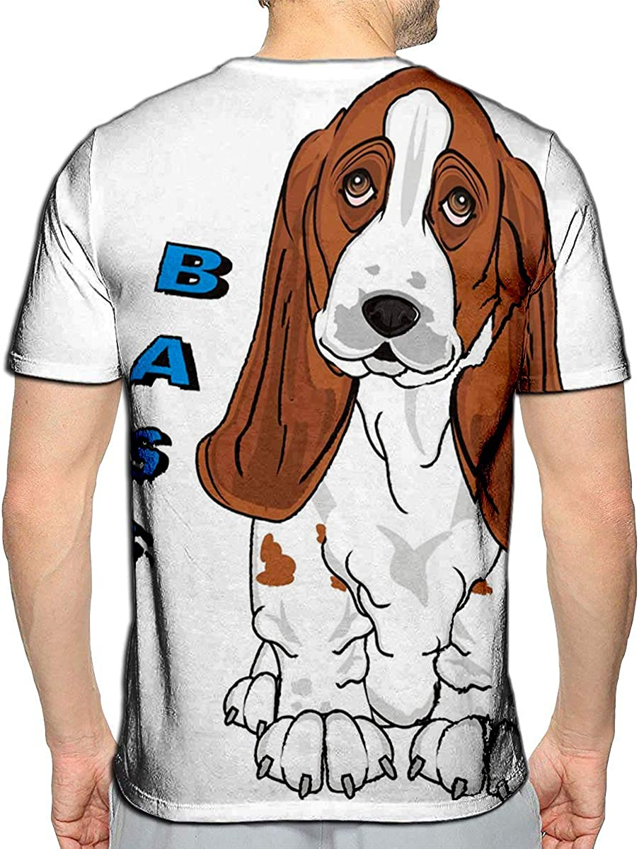 YILINGER T-Shirt 3D Printed Basset Hound and Word Casual Tees