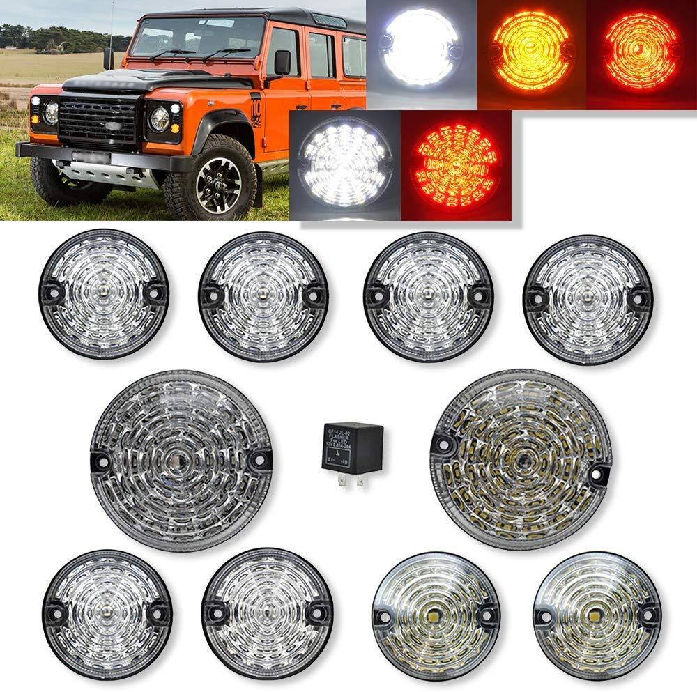 10pcs Upgrade Round Led Indicator Light Rear Tail Lamp Fog /& Reverse /& Front Side Light for Land Rover Defender 1990-2016 Clear Lens LED Update Complete Light Kit