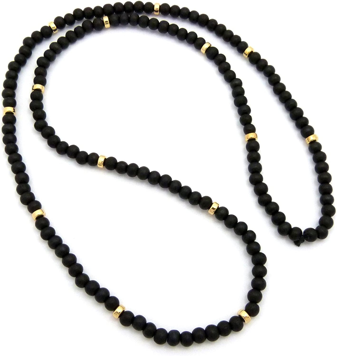 "Fashion 21 Jet Black, Brown Tone 6mm 30"" Wooden Bead Metal Connect Ball Bead Necklace"