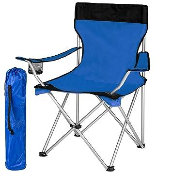 TecTake Silla de camping plegable + Portabebidas + Práctica bolsa de transporte - disponible en diferentes colores y cantidades -
