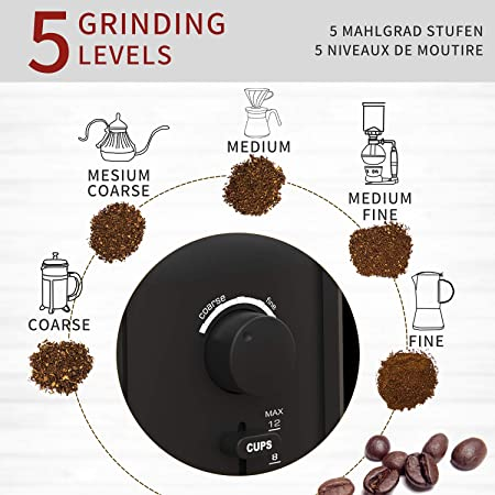 Electric Coffee Bean Grinder, Powerful Grinder, Grind Size Cup Selection, Removable Cup, Stainless Steel, Easy Cleaning, Herbs, Grains, Nuts, Spice, 12 Cups, 200 Watt, Best Gifts 02