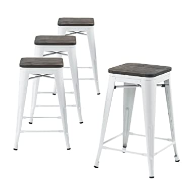 Buschman Wooden Seat, Counter High Tolix-Style Metal Bar Stools, Indoor/Outdoor, Stackable, 24  H, White, Set of 4
