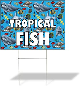 Fastasticdeals Weatherproof Yard Sign Tropical Fish Outdoor Advertising Printing D Blue Lawn Garden Seafood Market Monger 18x12 Inches 2 Sides Print