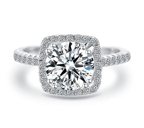 J.Étoile Mujeres Boda Compromiso Anillos Plata de Ley 925 Cz Diamantes Marcas Solitarias Princesa