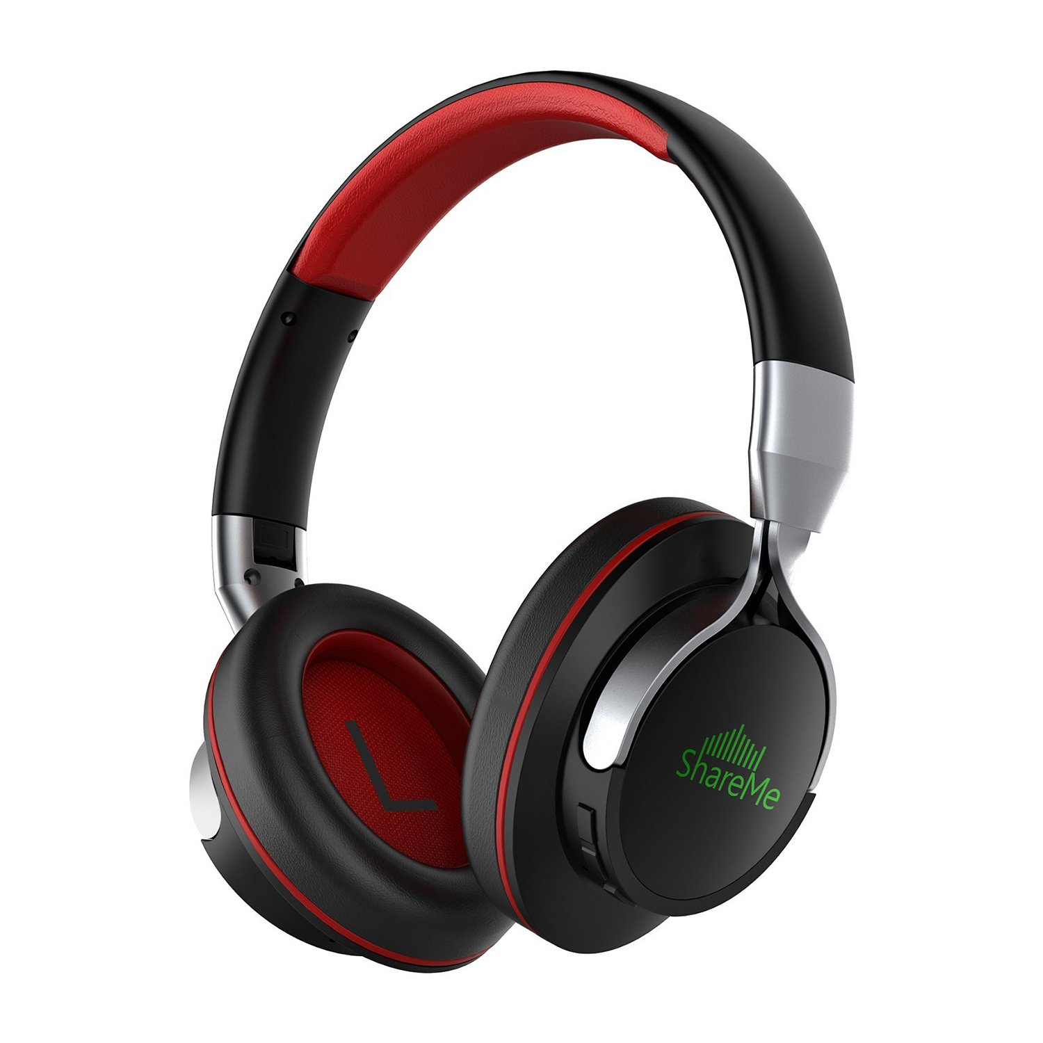 Advanced ShareMe Tech Auriculares Bluetooth con Micrófono Hi-Fi Deep Bass Auriculares Inalámbricos Sobre El Oído, Almohadillas de Protección Cómodo, 18 Horas Playtime Para Viaje - Negro y Rojo Mixcder 961B86100100UK