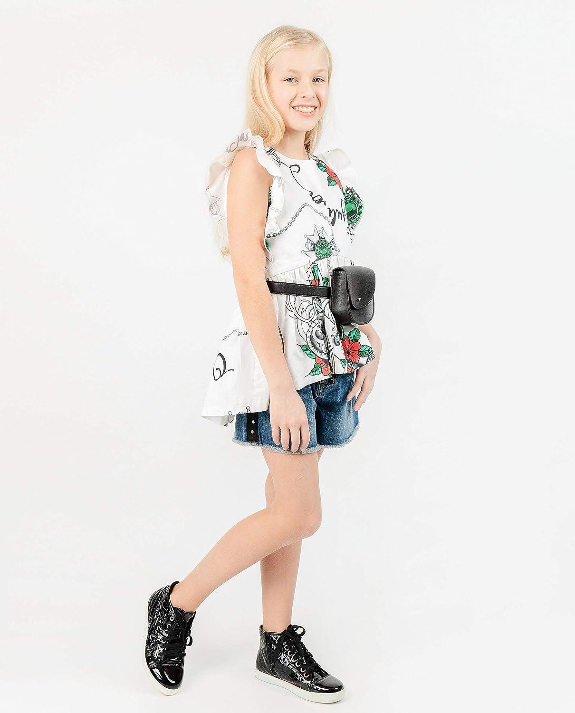 13 anni 134 164 cm GULLIVER Camicetta per ragazze e ragazze camicette Top Bianco Loose Fit con fiori lungo 8