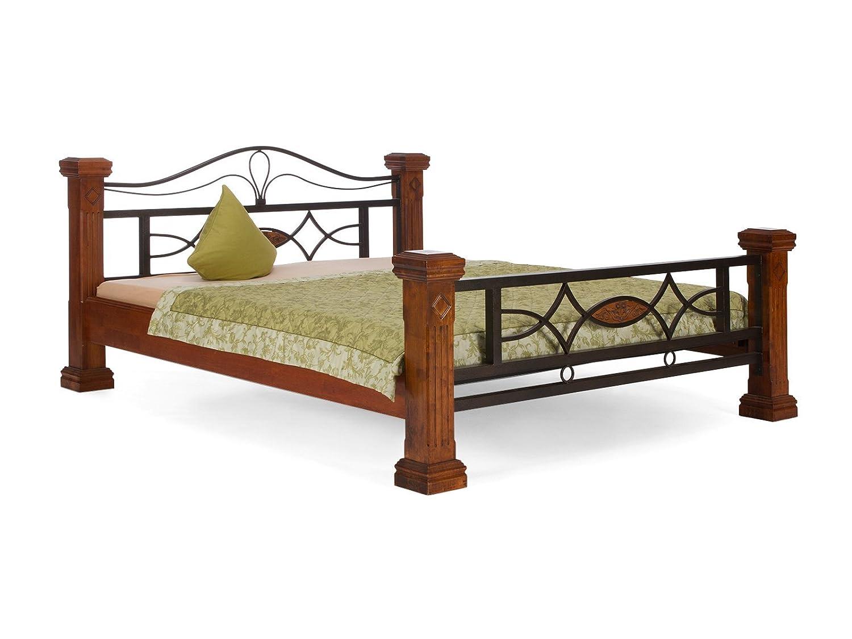 massivum Bett Byzanz 160x200cm Rubberwood braun gebeizt und lackiert ...