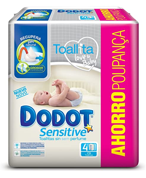 Dodot Toallitas para Bebé Sensitive - Paquete de 4 x 54 Toallitas - Total: 216 Toallitas: Amazon.es: Salud y cuidado personal