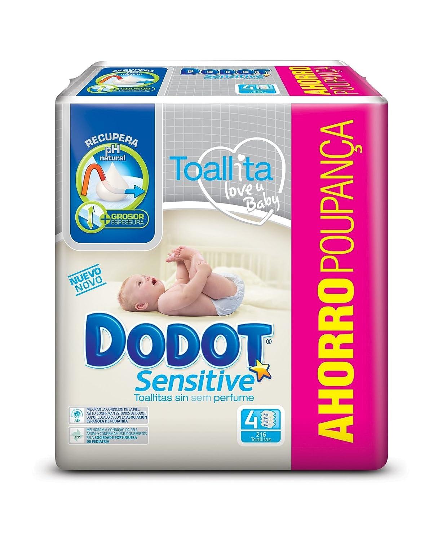 Dodot Toallitas para Bebé Sensitive - Paquete de 4 x 54 Toallitas - Total: 216 Toallitas: Amazon.es: Amazon Pantry