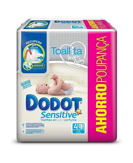 Dodot Toallitas para Bebé Sensitive - Paquete de 4 x 54 Toallitas - Total: 216