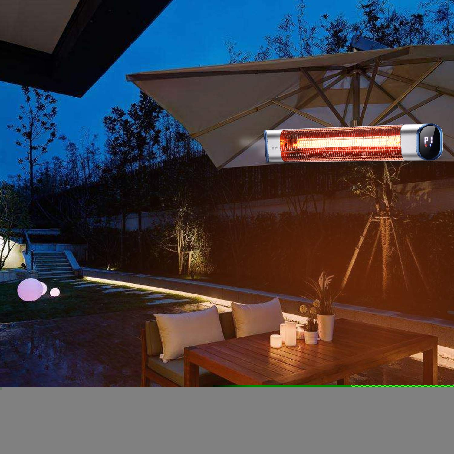 Backyard,1500W 24Hours Timer Auto Shut Off Garage Outdoor Wall-Mounted Infrared Patio Heater with LED Display and Remote Control SURJUNY Electric Outdoor Heater Space Heater for Bedroom