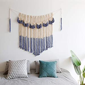 """ARTALL Wall Hanging Macrame Curtain Fringe Banner Bohemian Wall Decor Woven Tapestry Home Decoration for Wedding Apartment Bedroom Living Room Gallery 42"""" x 57"""""""