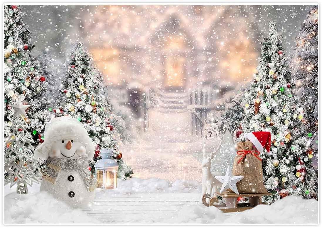 Allenjoy Navidad Invierno Muñeco de Nieve Telón de Fondo Fotografía Árbol Regalos CopoDecoración Blanca Banner Baby Shower Cumpleaños Photo Booth Studio Props 210x150cm