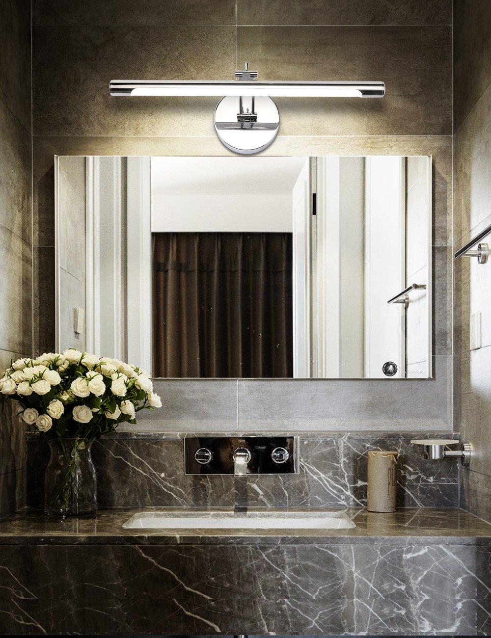 Solfart led stainless steel bathroom vanity light fixtures - Bathroom led light fixtures over mirror ...