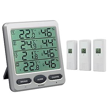 Neoteck Termómetro Higrómetro con 3 Sensores Remotos LCD Termómetro/Higrómetro Interior con Función de Alarma para la Gestión del Aire Acondicionado ...