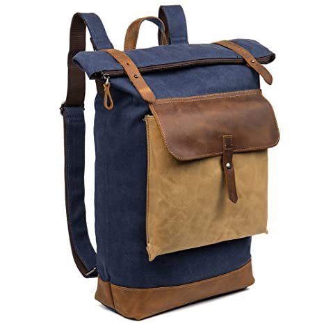 13aa179176bc Amazon.com  BOSTANTEN Laptop Canvas Backpack School Travel Camping ...