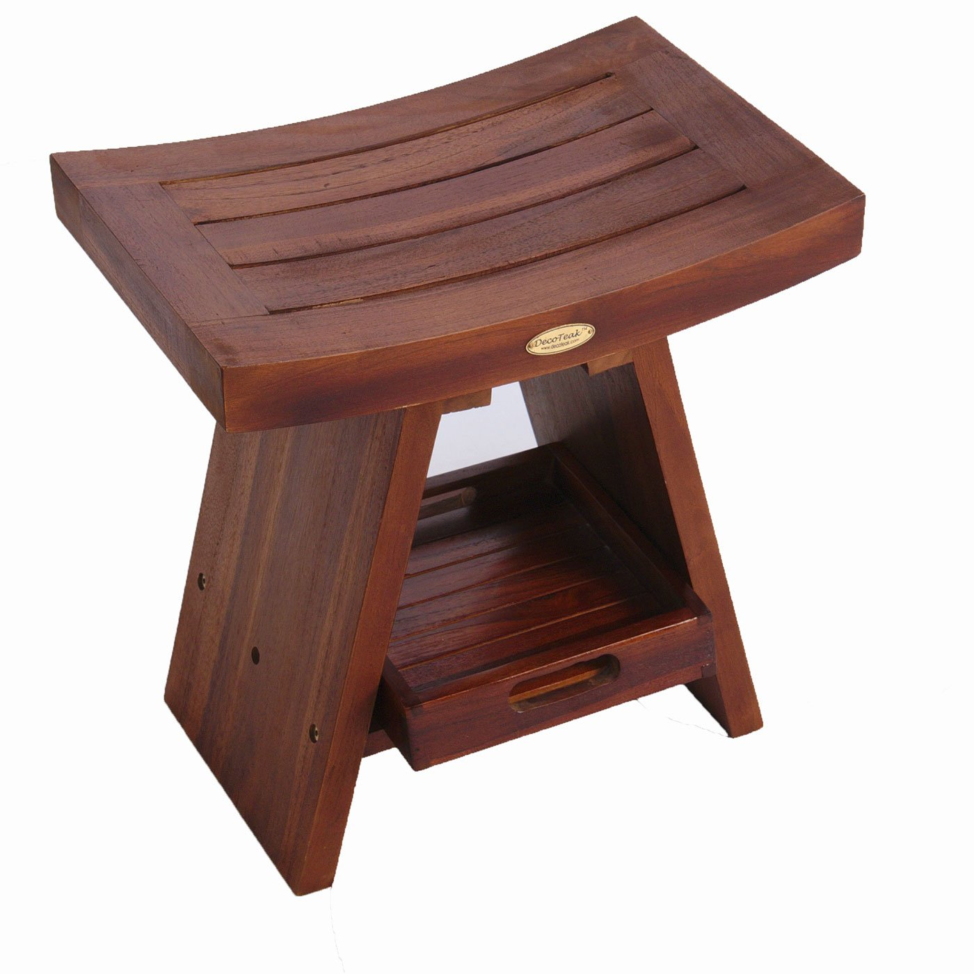 Patented FULLY ASSEMBLED Eastern Style Serenity Teak Shower Bench With Shelf With Integrated Amenity Storage Tray- Sitting, Storage, Shaving, Display