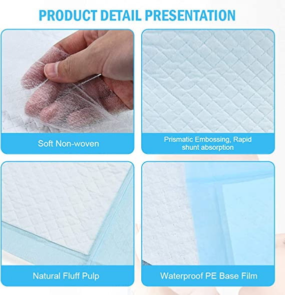 17 Inches x 13 Inches Timoo 100 PCS Disposable Changing Pad Leak-Proof Baby Pets Underpad Bed Table Protector Mat Soft Non-Woven Fabric