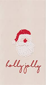 C&F Home Holly Jolly Santa Holiday Christmas Xmas French Knot Embroidered (Not Printed) Flour Sack Kitchen Towel Kitchen Towel White