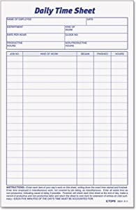 TOPS Daily Employee Time And Job Sheet, 6 x 9.5 Inches, 100 Sheets per Pad, 2 Pads/Pack (30041)