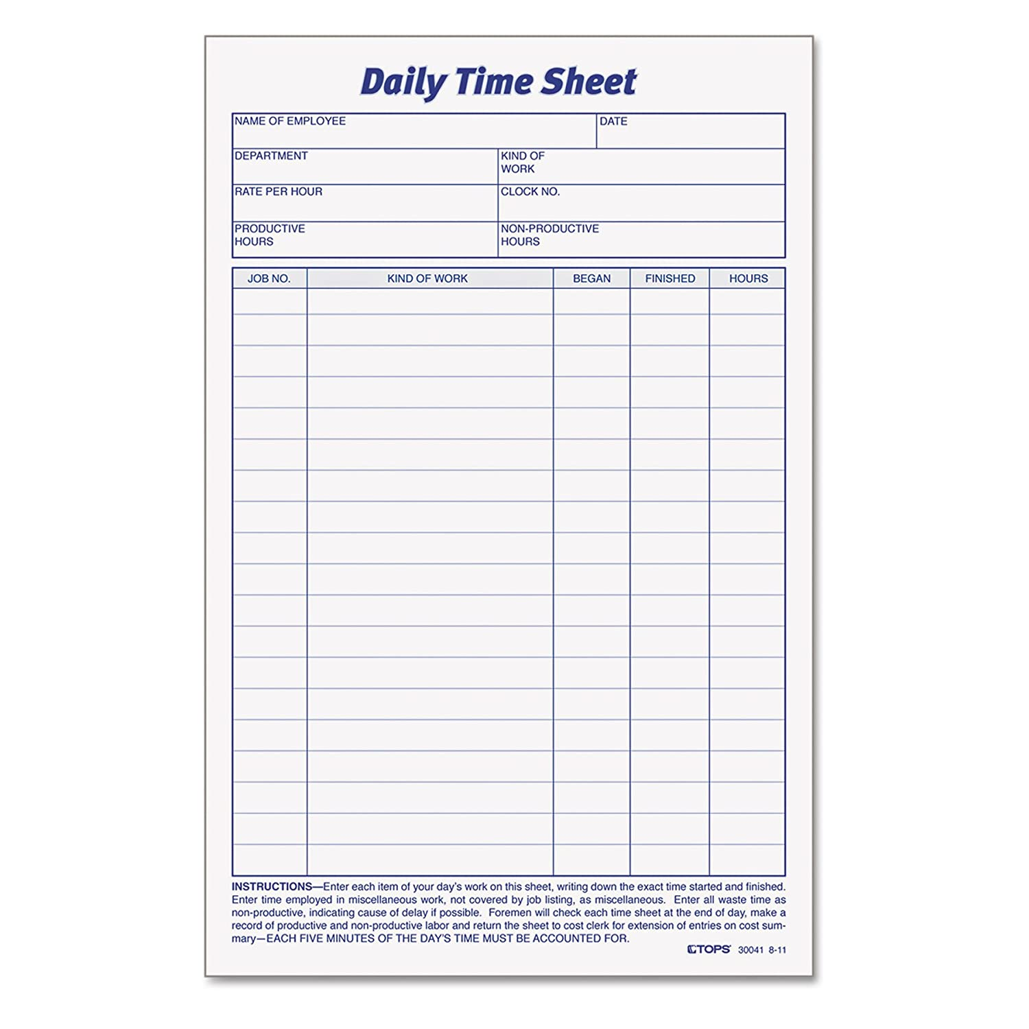 photo relating to Daily Sheet named TOPS Day-to-day Worker Period And Task Sheet, 6 x 9.5 Inches, 100 Sheets for each Pad, 2 Pads/Pack (30041)