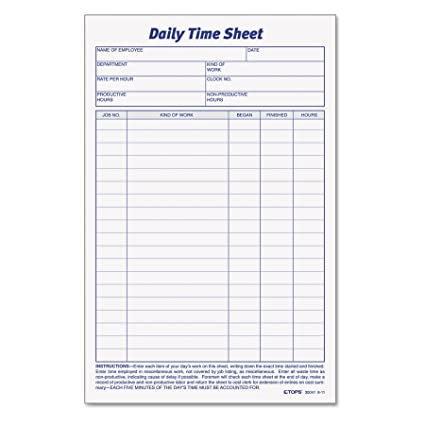 amazon com tops daily employee time and job sheet 6 x 9 5 inches