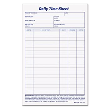 photo about Daily Work Sheet named TOPS Each day Staff Season And Endeavor Sheet, 6 x 9.5 Inches, 100