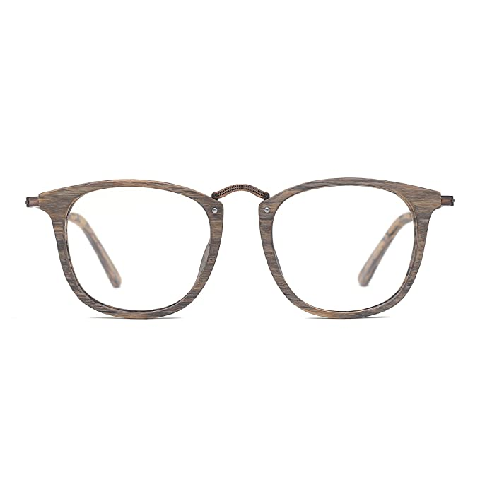 f8e3d0d23c TIJN Woodgrain Wayfarer Eyeglasses Frame Faux Wooden Glasses  Amazon.ca   Clothing   Accessories