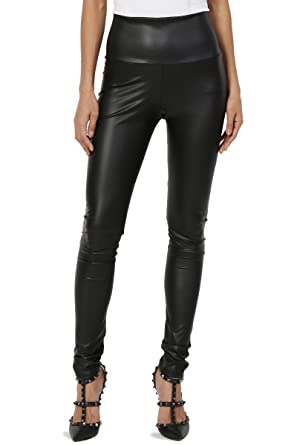 4246af530c927 TheMogan Women's Moto Faux Leather High Waisted Full Ankle Leggings Black S