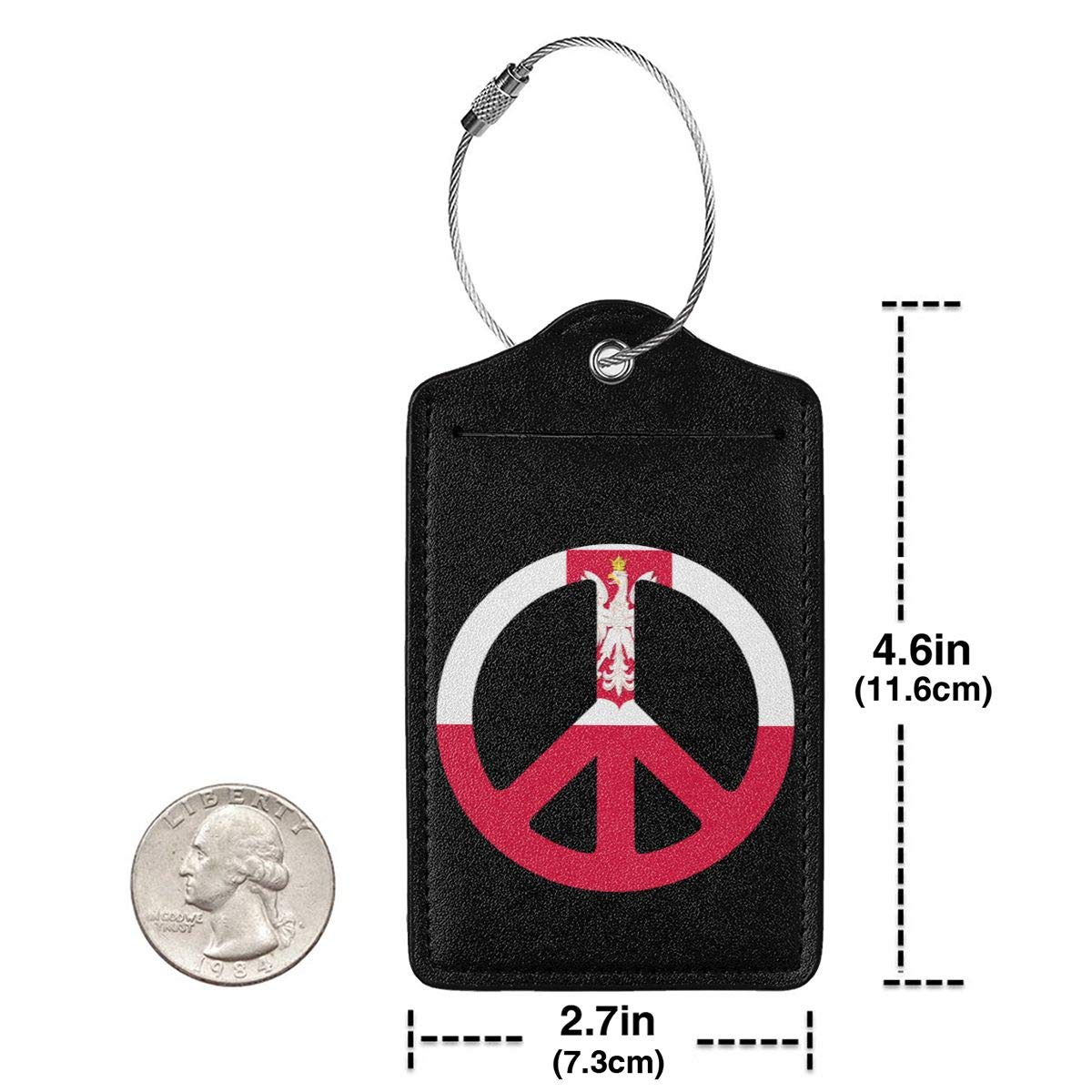 Poland Flag Peace Symbol Leather Luggage Tags Suitcase Tag Travel Bag Labels With Privacy Cover For Men Women 2 Pack 4 Pack