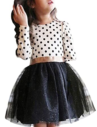 15bec0914a NNJXD Toddler Girl Polka Dotted Multilayer Ruffled Long Sleeve Tutu Party  Dresses Size 1-2