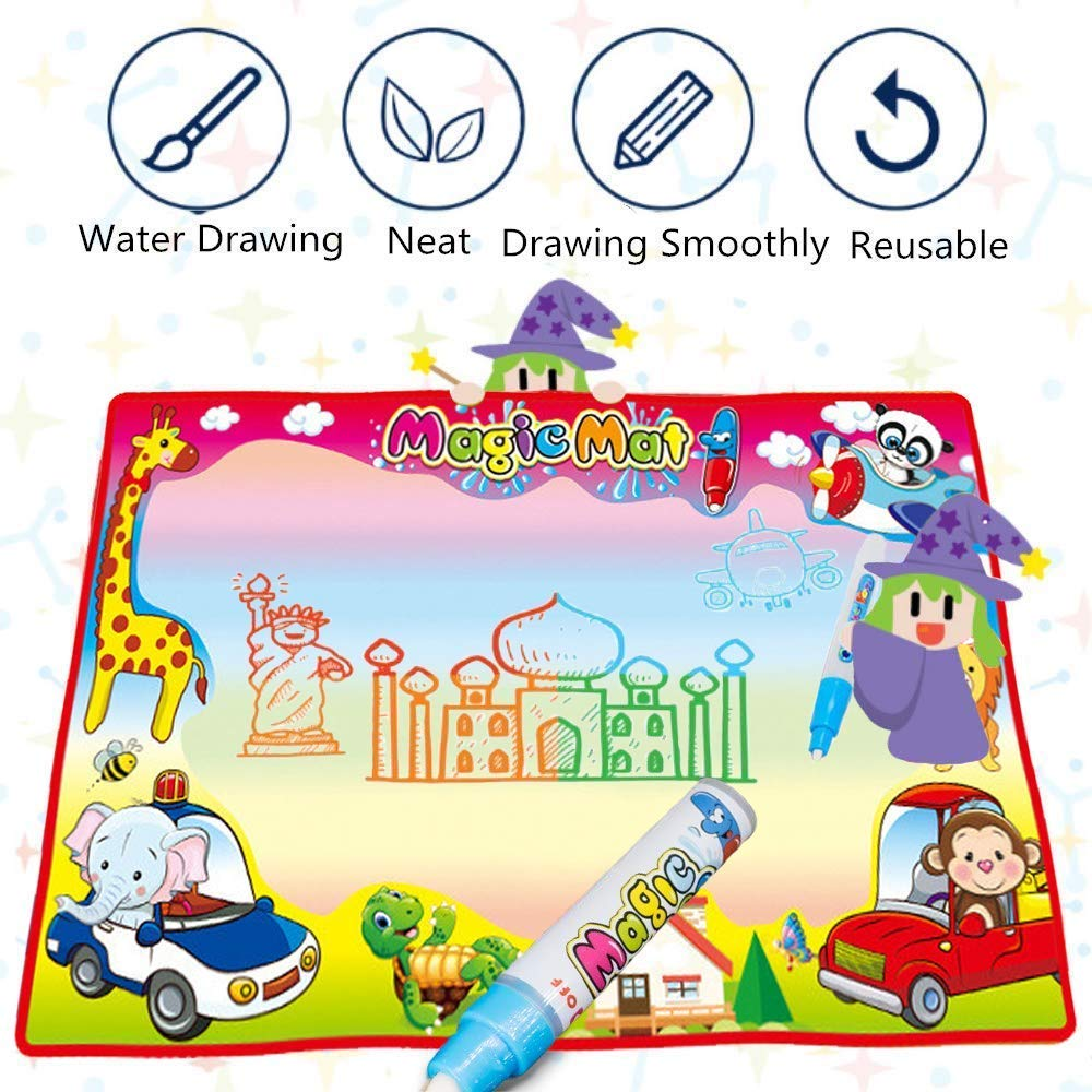 Educational Toy Best Gift for Kids Boys and Girls Youmijia Large Water Drawing Mat Toddlers Painting Board Writing Mats in 7 Colors with 2 Magic Pens and 1 Brush Aqua Doodle Mat