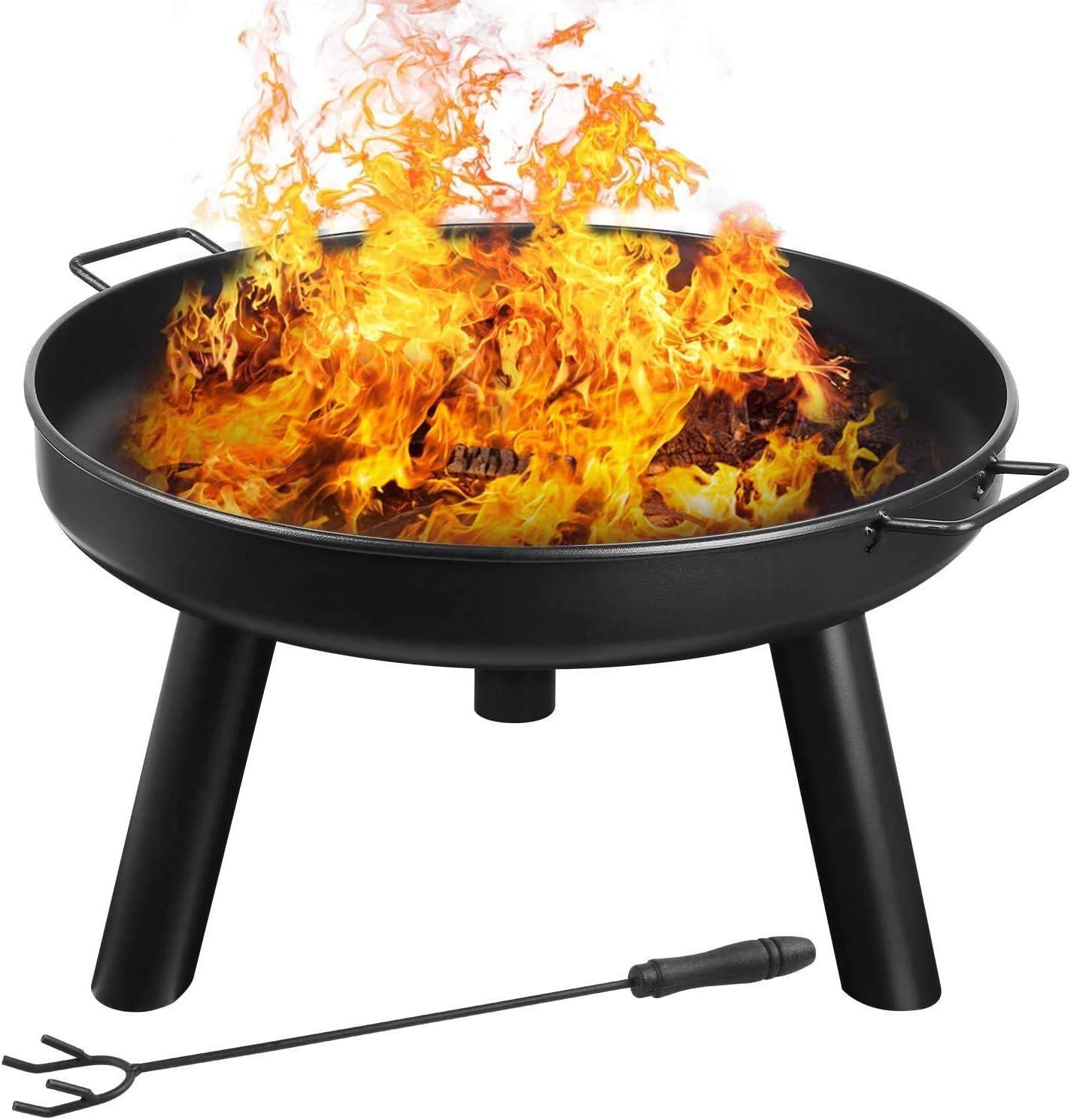 FIXKIT Barbacoa Portátil de Carbón Brasero Exterior con Asas Multifuncinal Chimenea para calefacción Terrazas Playa, BBQ, Picnic, Acampadas, Camping