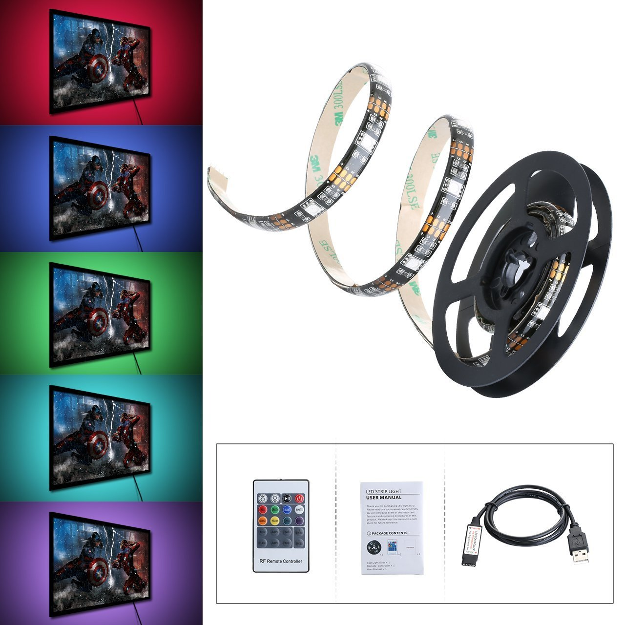 tiras led iluminacin m de victsing mp rgb multicolor kit con mando a