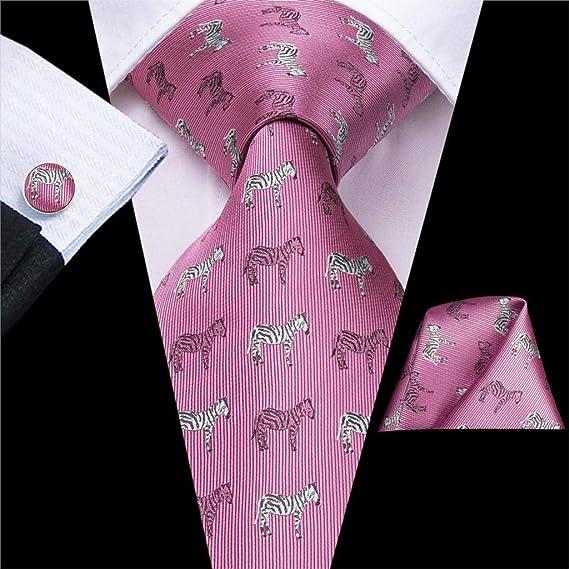 DJLHN Hi-Tie Corbatas de Seda con Estampado Rosa para Hombres ...