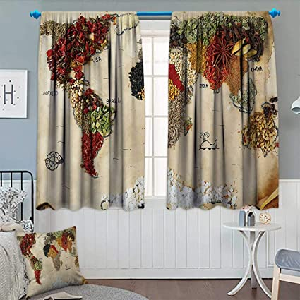 Amazon.com: Chaneyhouse World Map Window Curtain Drape Map of