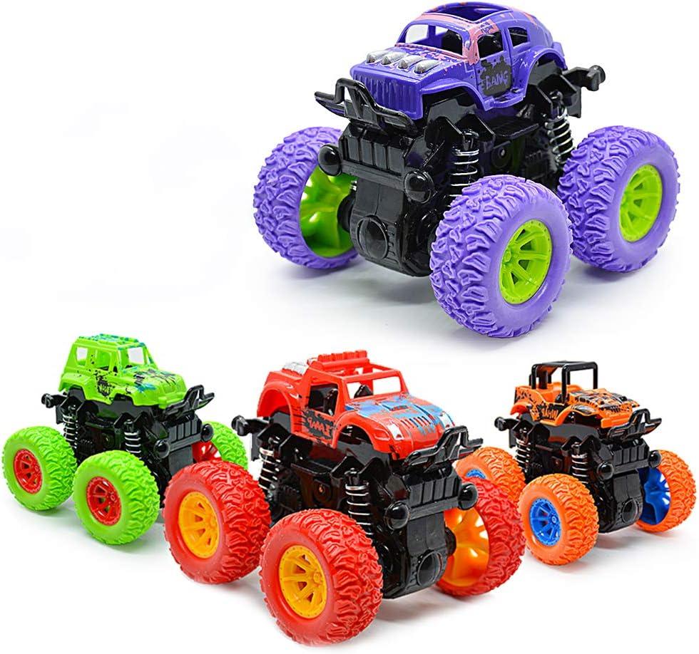 VCOSTORE 4 Piezas Tire hacia atrás de los Coches, Vehículo Todoterreno 4WD impulsado por fricción con Resorte a Prueba de Golpes para niños niñas