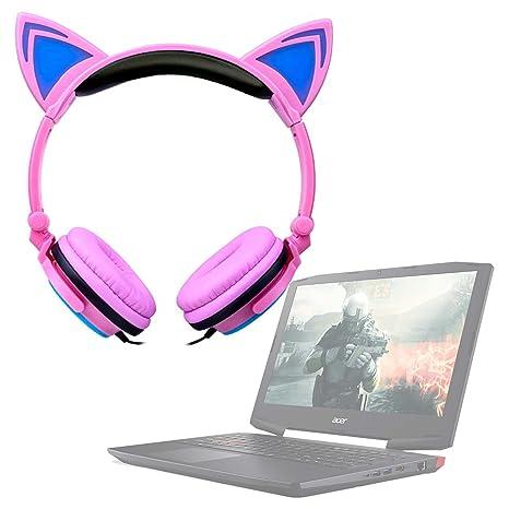 DURAGADGET Auriculares de Orejas de Gato en Rosa para Portátil Acer Aspire E5-523G-