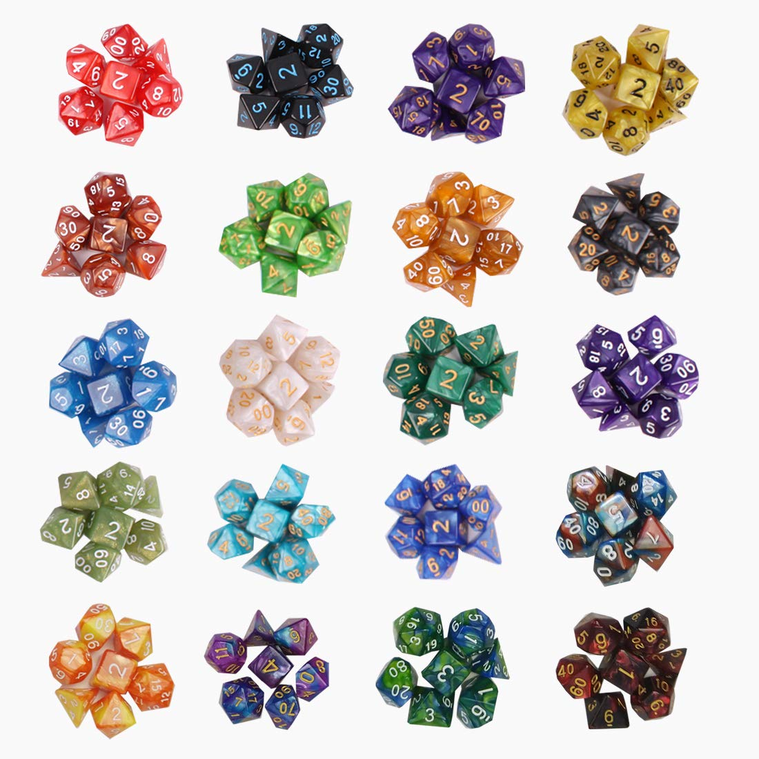 QMAY DND Dice Set, 140PCS Polyhedral Game Dice, 20 Color Double-Colors DND Dice Role Playing Dice for Dungeon and Dragons DND RPG MTG Table Games Dice D4 D8 D10 D12 D20 by QMAY (Image #9)