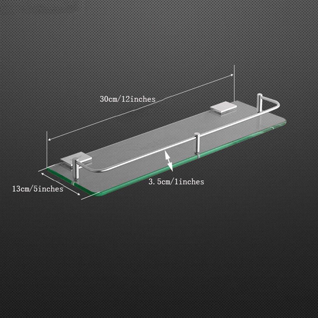 YXN Space Aluminum Bathroom Shelf Glass Shelf Bathroom Square Single Layer Metal Pendant Corner Dresser (Size : 30cm)
