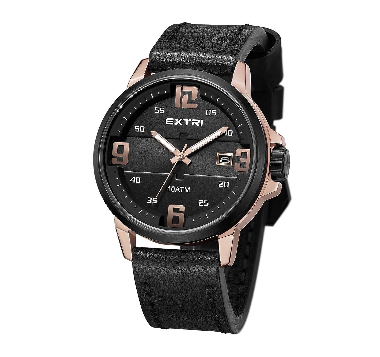 Extri Herren-Armbanduhr Analog Quarz Leder X3010D