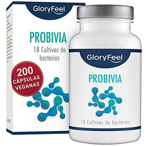 GloryFeel® Probióticos Complex - 200 cápsulas con revestimiento entérico - 18 cepas bacterianas - Probióticos y prebióticos para la flora intestinal - ...