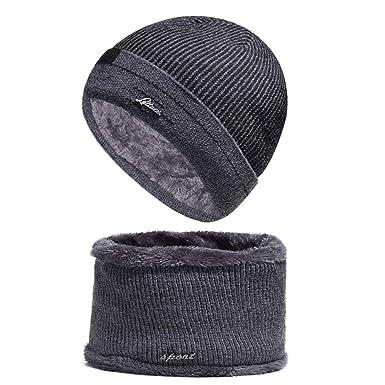 38769651a5307 WELROG Wintermütze Hut Mütze Loop-Schal Sets Für Männer   Frauen  Herbst Winter Hat