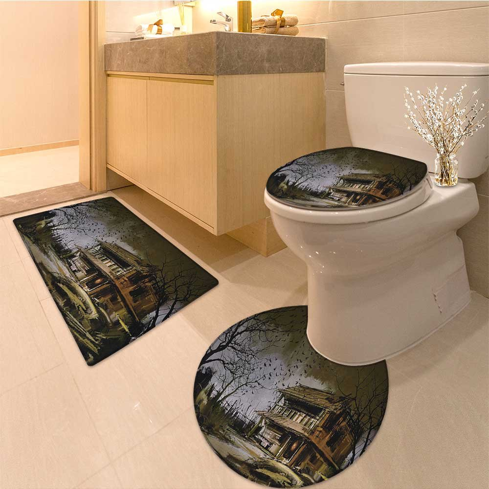 3 Piece Extended bath mat set Old Haunted Abandoned Wood at Dark Night with Bats Scary Paint Fabric Set with Hooks Very Absorbent Bathroom Bath Mat Contour Rug