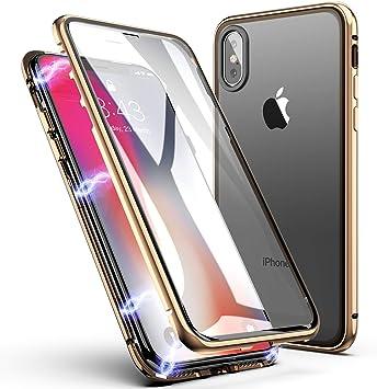 Funda iPhone X/XS, ZHIKE Estuche de Adsorción Magnético Frente y Parte Posterior de Vidrio Templado Cobertura de Pantalla Completa Diseño de una Pieza Cubierta con Tapa para Apple iPhone X/XS (Dorado): Amazon.es: